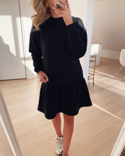 Natalie l/s dropped sweat dress black