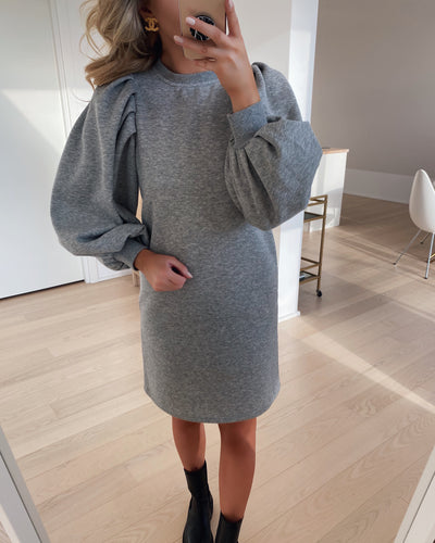 Natalie l/s pleat dress light grey melange