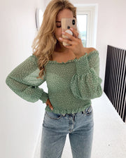 Nea off shoulder blouse light green/cream