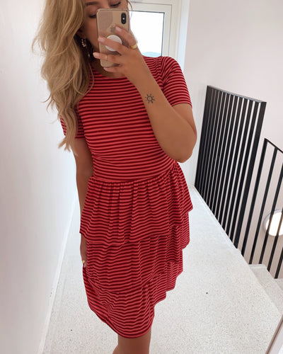 Cris t-shirtdress coral/red