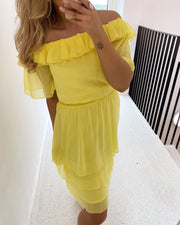 Nicoline off shoulder dress yellow