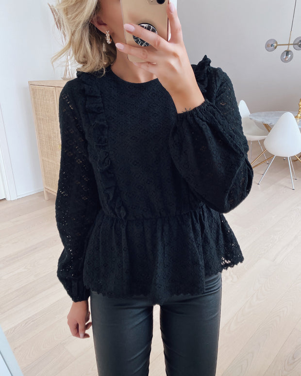 Henny lace l/s peplum top