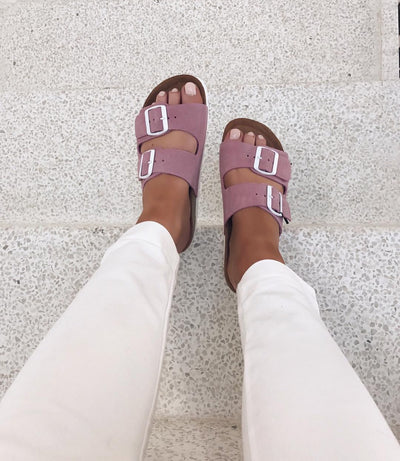 Julia leather sandal opera mauve - FORUDBESTILLING