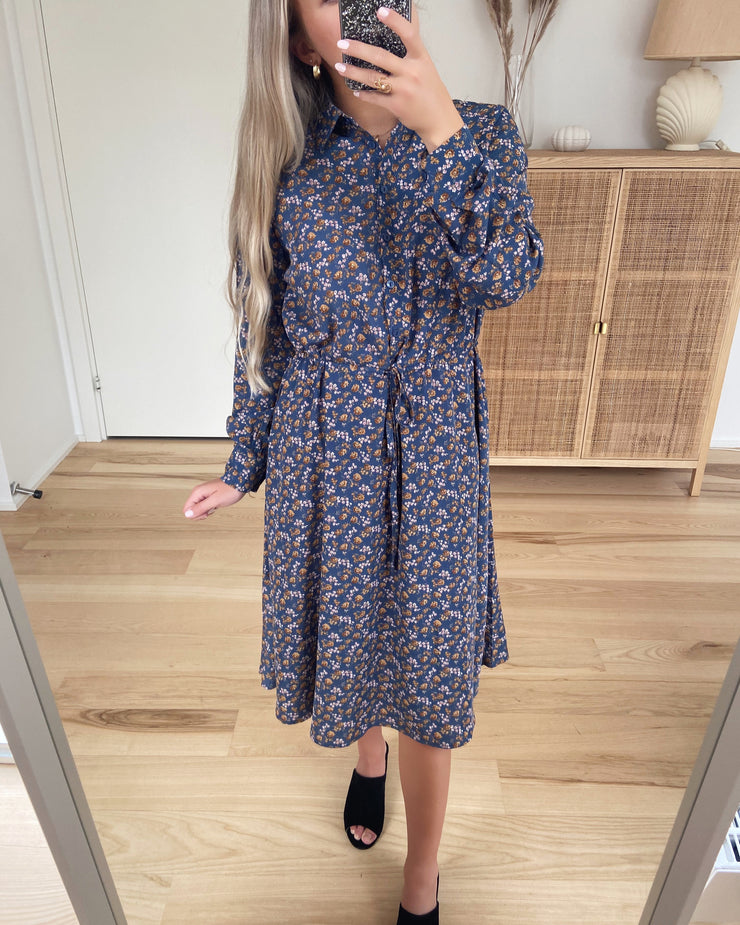 Vike dress blue cloud flower