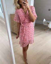 New greto dress rose/pink flower