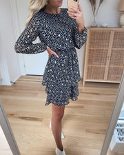 Nicoline long sleeved dress black/cream/gold