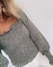Nea off shoulder blouse khaki/leo
