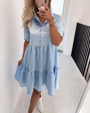 Gloss dress shiny light blue