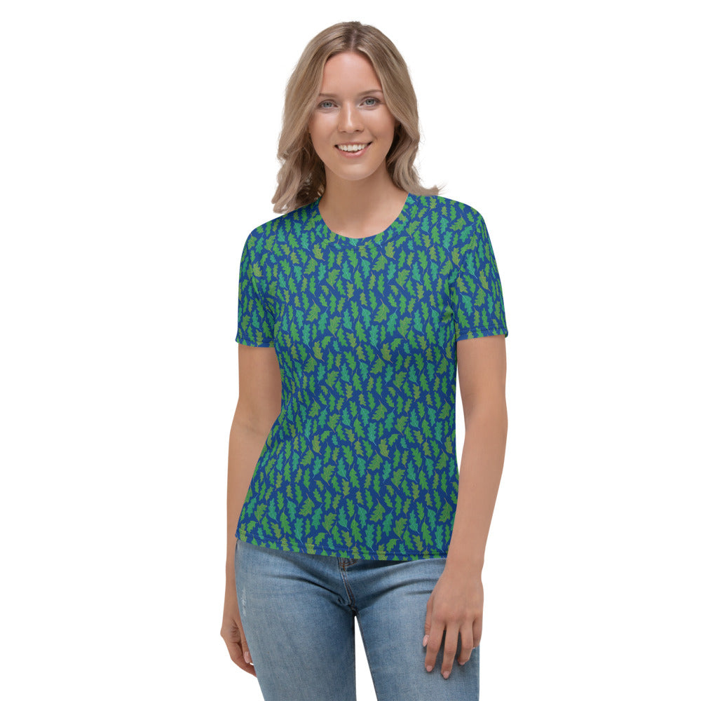 Forest Leaves (Blue) Women's T-shirt