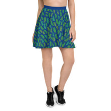 Load image into Gallery viewer, Forest Leaves (Blue) Skater Skirt
