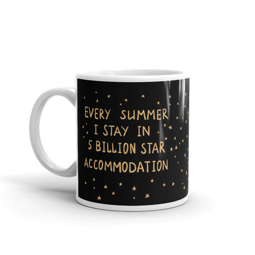 Mug with a text 5 billion star accommodation