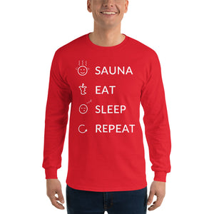 Sauna eat sleep repeat Men's Long Sleeve Shirt