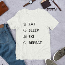 Load image into Gallery viewer, Eat Sleep Ski Repeat Unisex T-Shirt