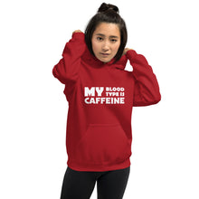 Load image into Gallery viewer, Caffeine Blood Type Unisex Hoodie