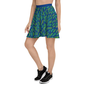Forest Leaves (Blue) Skater Skirt