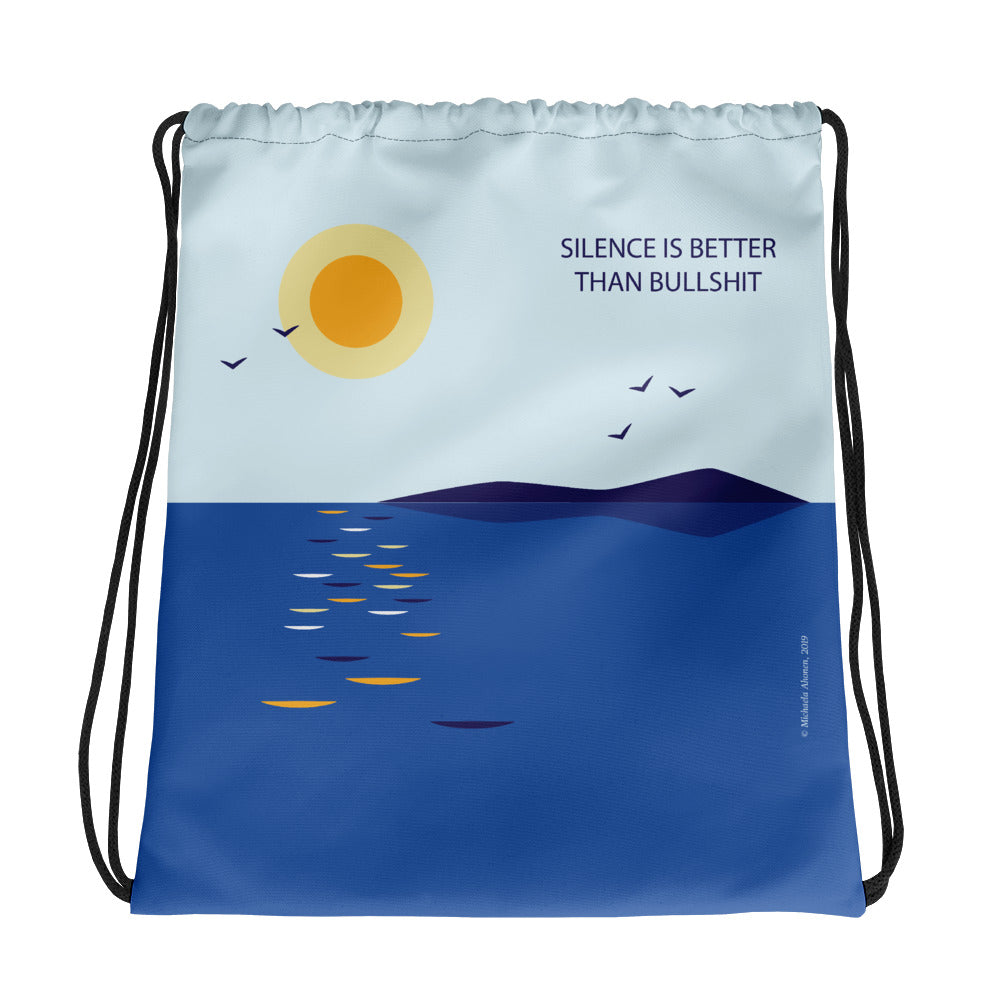 Silence is Better Drawstring Bag