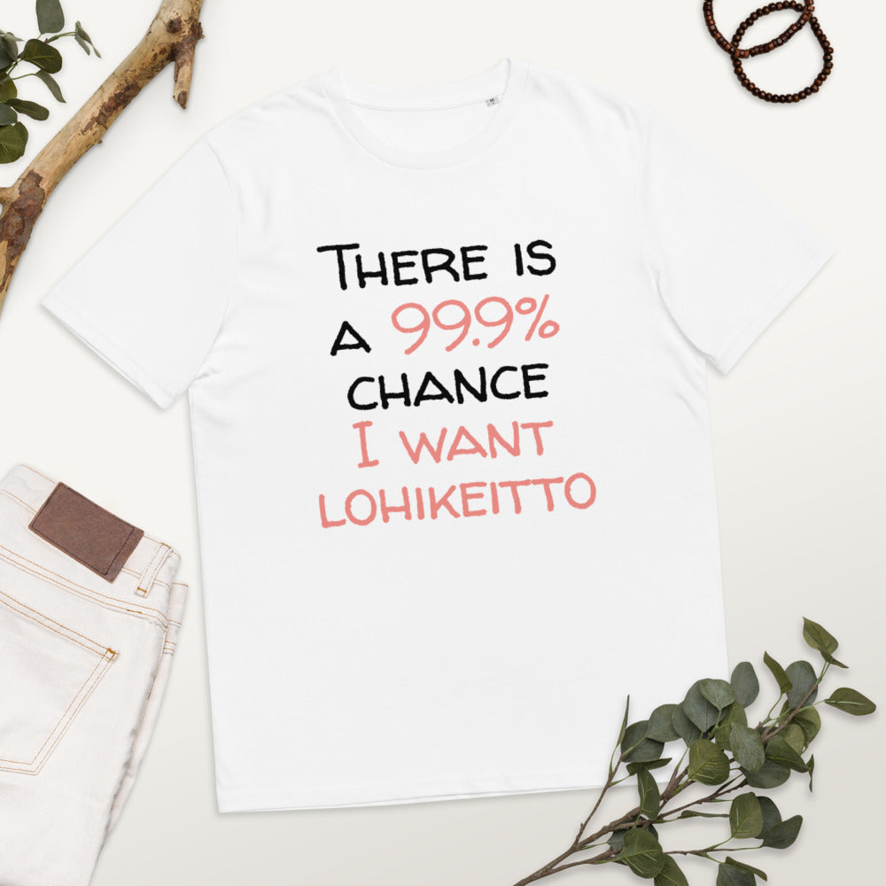 99.9 chance of lohikeitto Unisex organic cotton t-shirt