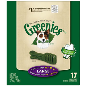 Greenies Dental Chews Dog Treats - Large (for dogs 50 - 100 lbs) 17 Count at NJPetSupply.com