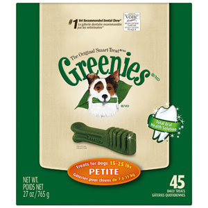 Greenies Dental Chews Dog Treats Petite (for dogs 15 - 25 lbs) 20 Count at NJPetSupply.com
