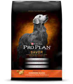 Pro Plan Adult 7+ Savor Shredded Chicken & Rice Dry Dog Food 34 Pound Bag at NJPetSupply.com