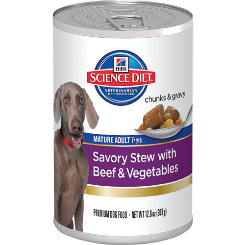 Science Diet Mature Adult Savory Stew with Beef & Vegetables Canned Dog Food