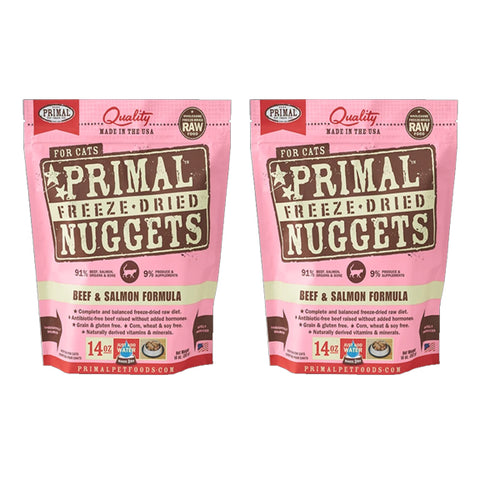 Primal Nuggets Feline Beef and Salmon Freeze-Dried Cat Food 2 Pack