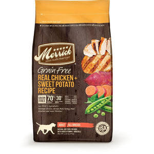 Merrick Grain Free Chicken and Sweet Potato Recipe Dry Dog Food 4 Pound Bag at NJPetSupply.com