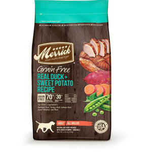 Merrick Grain Free Duck and Sweet Potato Recipe Dry Dog Food 4 Pound Bag at NJPetSupply.com