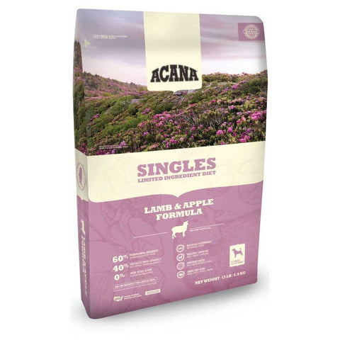 Acana Singles Lamb and Apple Dry Dog Food, 4.5 Pound Bag at NJPetSupply.com