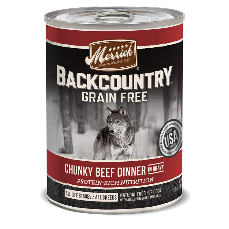 Merrick Backcountry Chunky Beef Dinner in Gravy Canned Dog Food