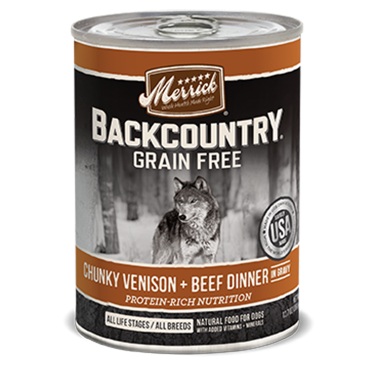 Merrick Backcountry Chunky Venison and Beef Dinner in Gravy Canned Wet Dog Food at NJPetSupply.com
