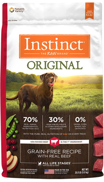 Nature's Variety Instinct Original Grain-Free Recipe with Real Beef Dry Dog Food at NJPetSupply.com