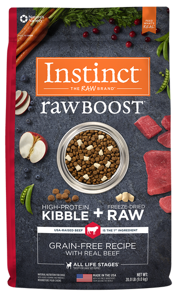 Nature's Variety Instinct Raw Boost Grain-Free Recipe with Real Beef Dry Dog Food at NJPetSupply.com