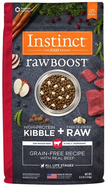 Nature's Variety Instinct Raw Boost Grain-Free Recipe with Real Beef Dry Dog Food 4-lb at NJPetSupply.com