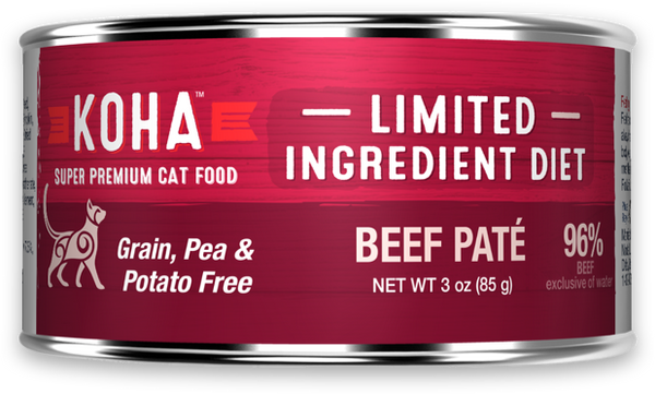 KOHA LID Grain-Free Beef Pate Wet Cat Food, 3-oz cans at NJPetSupply.com