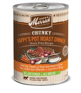 Merrick Chunky Pappy's Pot Roast Dinner Grain Free Recipe Canned Wet Dog Food at NJPetSupply.com