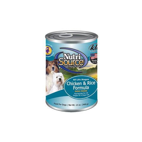 Nutrisource Chicken and Rice Canned Wet Dog Food at NJPetSupply.com