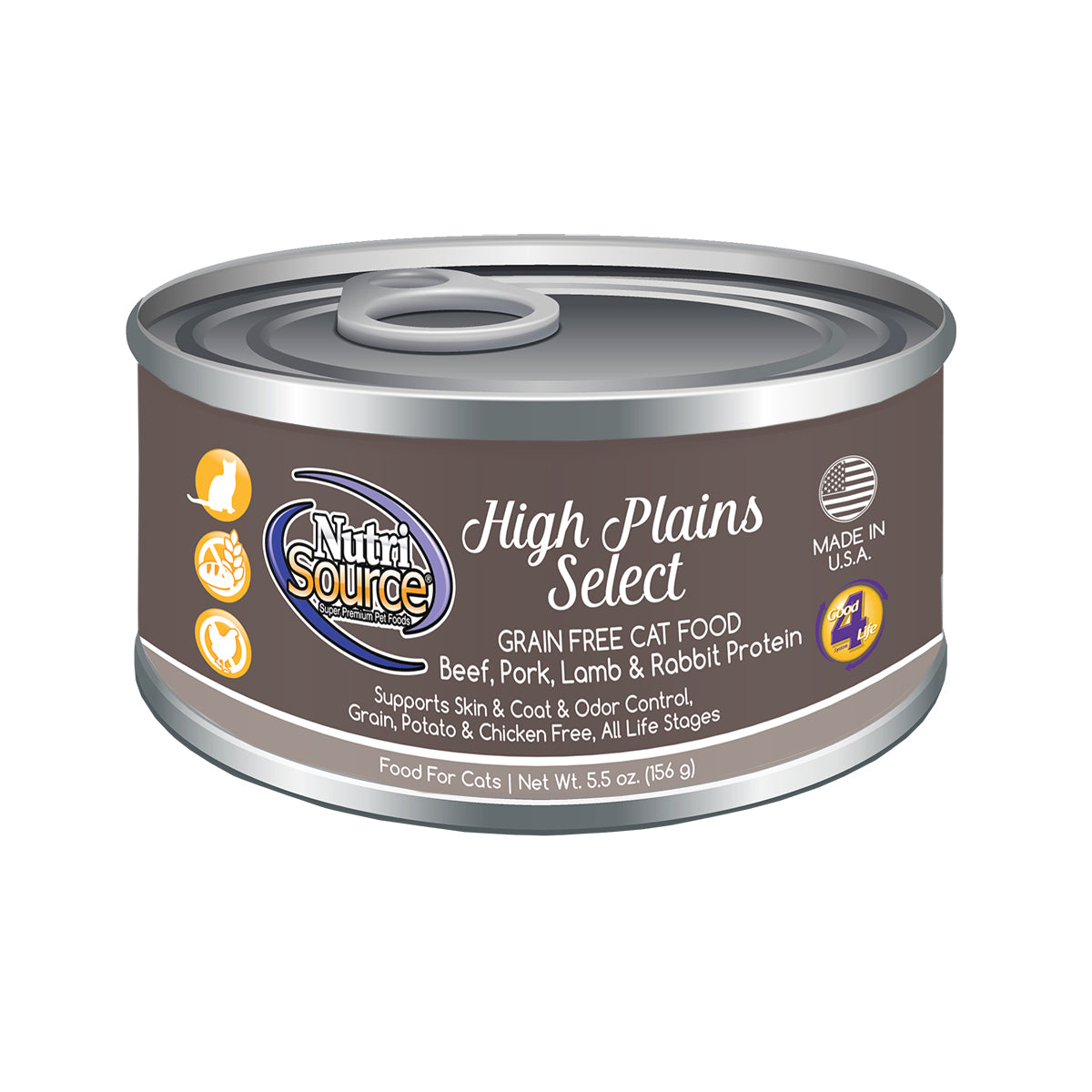 Nutrisource Grain Free High Plains Canned Wet Cat Food at NJPetSupply.com