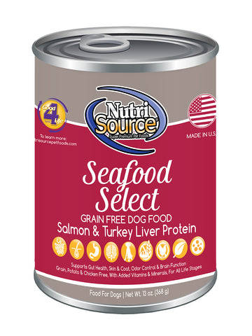 Nutrisource Grain Free Seafood Select Canned Wet Dog Food at NJPetSupply.com
