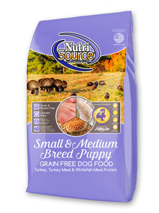 Nutrisource Grain Free Small and Medium Breed Puppy Turkey Dry Dog Food at NJPetSupply.com