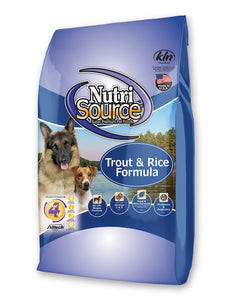 Nutrisource Trout & Rice Dry Dog Food, 30-lb Bag at NJPetSupply.com