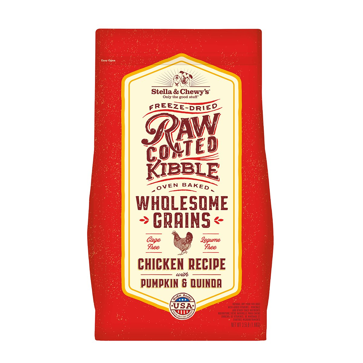 Stella & Chewy's Raw Coated Kibble with Grains Chicken Recipe with Pumpkin & Quinoa Dry Dog Food