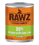 RAWZ 96% Meat Chicken and Chicken Liver Wet Dog Food, 12.5-oz Cans