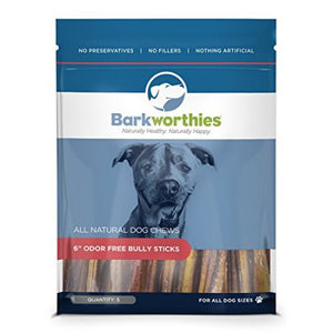 "Barkworthies Odor Free 6"" Bully Sticks, 5 Pack at NJPetSupply.com"