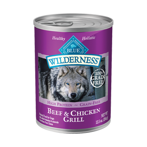 Blue Buffalo Wilderness Beef and Chicken Grill Canned Wet Dog Food at NJPetSupply.com