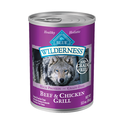 Blue Buffalo Wilderness Beef and Chicken Grill Canned Dog Food - NJ Pet Supply
