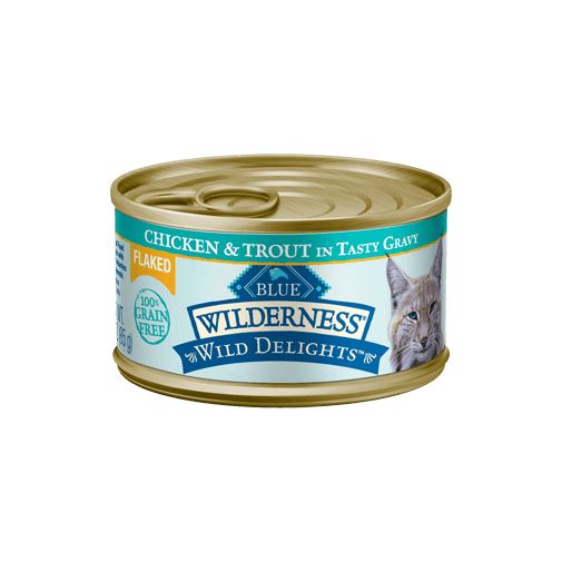 Blue Buffalo Wilderness Wild Delight Flaked Chicken and Trout Wet Cat Food at NJPetSupply.com