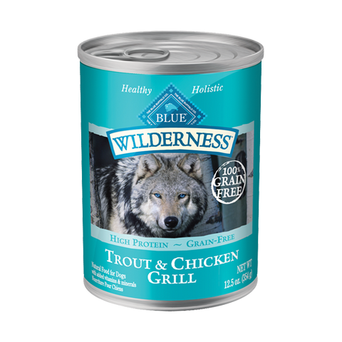Blue Buffalo Wilderness Trout and Chicken Grill Canned Wet Dog Food at NJPetSupply.com