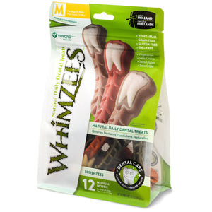 Whimzees Brushzees Dental Chew, Medium (dogs 25-40lbs)