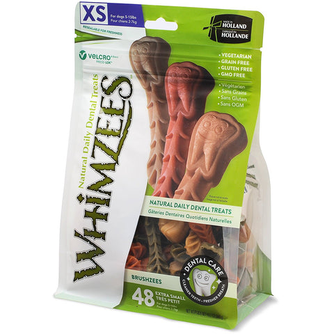 Whimzees Brushzees Dental Chew, X-Small (dogs 5-15lbs), Value Pack at NJPetSupply.com